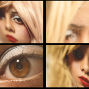 a screen split 4 ways with a teenage girl in a blonde wig putting on make up shot at various angles